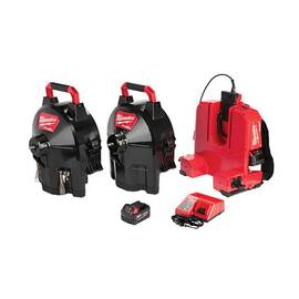 Milwaukee® 2775D-222 M18™ Fuel™ Switch Pack™ Cordless Drain Gun Kit, 1-1/4 To 4 In Drain Line, 100 Ft Max Run, 18 Vdc, Hdpe Drum Housing