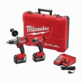 Milwaukee® 2897-22 M18 Fuel™ 2-Tool Cordless Combination Kit, Tools: Hammer Drill, Impact Driver, 18 V, 5 Ah Lithium-Ion, Keyless Blade