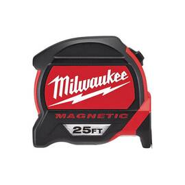Milwaukee® 48-22-7125 Magnetic Tape Measure With Bonus Tape, 25 Ft L Blade, Imperial
