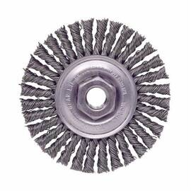 Mini Roughneck® Wheel Brush, Narrow Face, 4 in Brush Dia, 3/16 in Face Width, 3/8-24 Arbor Hole Size, Stringer Bead Knot Filament/Wire Type, 0.02 in Filament/Wire Diameter, Steel Fill, 7/8 in Trim Length, 20000 rpm Maximum, Threaded Arbor Attachment