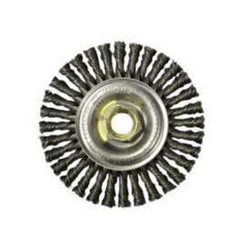 Mini Roughneck® Wheel Brush, Narrow Face, 4 in Brush Dia, 3/16 in Face Width, 5/8-11 Arbor Hole Size, Stringer Bead Knot Filament/Wire Type, 0.02 in Filament/Wire Diameter, Steel Fill, 7/8 in Trim Length, 20000 rpm Maximum, Threaded Arbor Attachment