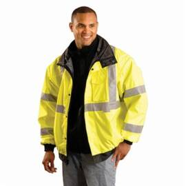 OccuNomix LUX-TJBJ-Y Miracool® Bomber Jacket, 300D PVC Coated Polyester, Water Resistant, Snap Closure, Fluorescent Yellow