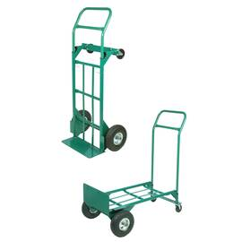 Mutual Hand Truck, 2-in-1 Heavy Duty, 600 lb Horizontal Load, Large Pneumatic Tire/Swivel Caster Wheel, Steel