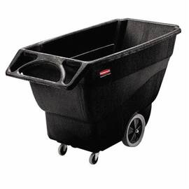 Rubbermaid® Tilt Truck, Structural Foam Utility Duty, 600 lb, 3/4 cu-yd, 64-1/2 in Overall Length, 30.2 in Overall Width, 38 in Overall Height, HDPE, Black, Non-Marking Caster