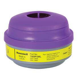 North® By Honeywell 7583P100L N Series Cartridge And Filter, For Use With 5500, Ru8500 And 7700 Series Half Mask Respirators, Organic Vapor, Chlorine, Hydrogen Chloride, Sulfur Dioxide, Hydrogen Sulfide, Chloride Dioxide, Hydrogen Fluoride, Magenta/Yello