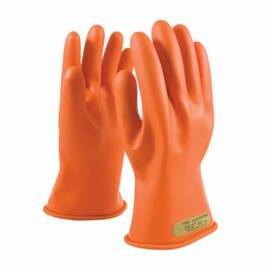 Novax® Electrical Gloves, Class 00 Insulating, Series: 147-00-11, Sz 7, Natural Rubber, Orange, Contoured Shape, Unlined, Rolled Cuff, Uncoated, 11 In Length, Resists: Arc Flash