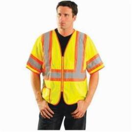 OccuNomix LUX-HSCLC3Z Safety Vest, Two-Tone, Polyester Mesh, Silver Stripe, Unisex, ANSO Class: 3, Zipper Closure, Hi-Viz Yellow