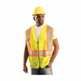 OccuNomix OK-ILDOTMZ Safety Vest, Two-Tone, Polyester Mesh, Silver Stripe, ANSI Class: 2, Zipper Closure, Hi-Viz Yellow