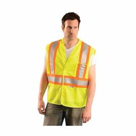 OccuNomix OK-ILDOTM Safety Vest, Two-Tone, Polyester Mesh, Silver Stripe, ANSI Class: 2, Hi-Viz Yellow
