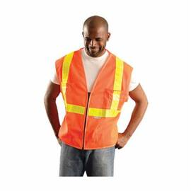 OccuNomix OK-SVOML Safety Vest, Premium, Polyester Mesh, Unisex, ANSI Class: 2, Zipper Closure, Hi-Viz Orange