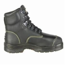 OLIVER BY HONEYWELL 55246-BLK-050 HEAVY METAL WORK BOOTS, MEN'S, SZ 5, 6 IN H, STEEL TOE, FULL GRAIN LEATHER UPPER, RUBBER OUTSOLE, RESISTS: ABRASION, CUT, PUNCTURE, IMPACT, SLIP, WATER AND OIL, SPECIFICATIONS MET: ASTM F2413-11 M I/75 C/75 MT/75 PR EH