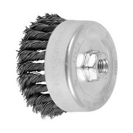 PFERD Cup Brush, External Nut Single Row, 4 in Brush Dia, 5/8-11 Arbor Hole Size, Standard/Twist Knot Filament/Wire Type, 0.023 in Filament/Wire Diameter, Carbon Steel Fill, 1-1/4 in Trim Length, 9000 rpm Maximum