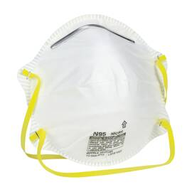 PIP® SAFETY WORKS® 10102481 N95 HARMFUL DUST DISPOSABLE RESPIRATOR, UNIVERSAL, LATEX FREE DUAL ELASTIC HEADSTRAP, WHITE