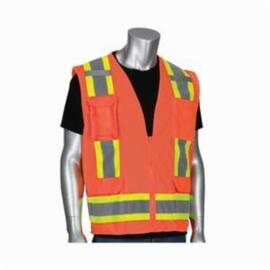 PIP® 302-0500M-OR Surveyor Safety Vest, Two-Tone, Polyester, ANSI Class: 2, Silver Stripe, Hi-Viz Orange