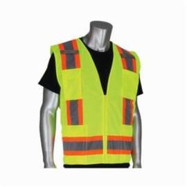 PIP® 302-0500 Surveyor Safey Vest, Two-Tone, Polyester, ANSI Class: 2, Silver Stripe, Hi-Viz Orange