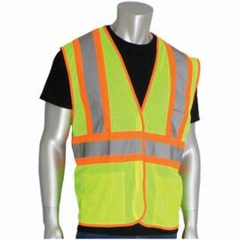 PIP® 302-MVATLY Safety Vest, Two-Tone, Polyester Mesh, ANSI Class: 2, Hi-Viz Lime Yellow