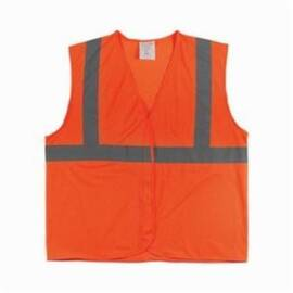 PIP® 302-MVGOR Safety Vest, Silver Stripe, Polyester, ANSI Class: 2, Silver Stripe, Hi-Viz Orange