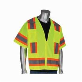 303-0500-LY Class 3 2-Tone Surveyor 6 Pocket Vest With Zipper Lime Yellow