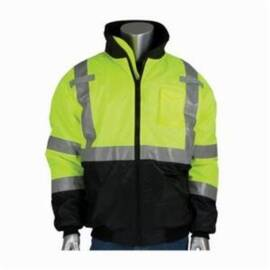 PIP® 333-1740-LY Bomber Jacket, Polyester, Water Resistant, Unisex, Flap/Zipper Closure, Hi-Viz Lime Yellow