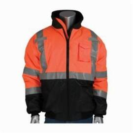 PIP® 333-1740-OR Bomber Jacket, Polyester, Water Resistant, Unisex, Flap/Zipper Closure, Hi-Viz Orange
