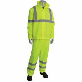 PIP® FALCON™ VIZ™ 353-1000LY-L/XL 2-PIECE RAINSUIT SET, L/XL, HI-VIZ YELLOW, POLYESTER, 48 IN WAIST, 32 IN L INSEAM, CONCEALABLE HOOD