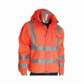 PIP® Falcon™ 353-2000-OR Vizplus™ Rain Jacket, Breathable Heavy Duty, Polyester, Water Resistant, Zipper Closure, Hi-Viz Orange