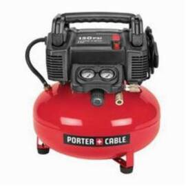 Porter-Cable® C2002 Oil Free Electric Air Compressor, 3.5 SCFM At 40 Psi, 0.8 Hp, 150 Psi, Pancake 6 Gal Tank