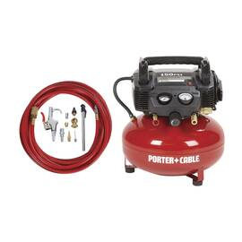 Porter-Cable® C2002-WK Oil Free Compressor Accessory Kit, 3.5 SCFM At 40 psi, 0.8 Hp, 150 psi, Horizontal/Pancake 6 gal Tank