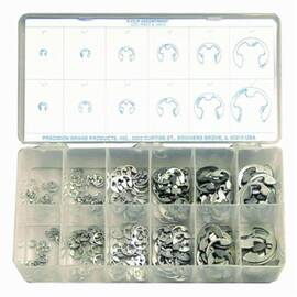 Precision Brand® 12910 E-Clip Assortment, 265 Pieces, Steel, Plain, 1/8 To 7/8 In