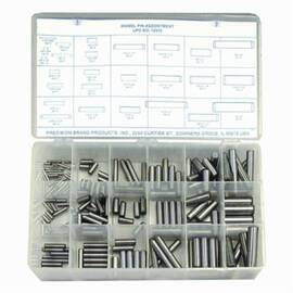 Precision Brand® 12912 Dowel Pin Assortment, Steel, Plain, 176 Pieces
