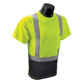 RADWEAR™ ST11B-2PGS-L SHORT SLEEVE SAFETY T-SHIRT, L, BLACK/HI-VIZ GREEN, WICKING POLYESTER MESH