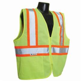 Radians® SV225-2ZG Fire Resistant Safety Vest, Silver Stripe, Polyester Mesh, ANSI Class: 2, Zipper Closure, Hi-Viz Green