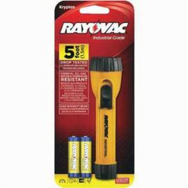 Rayovac® I2Aa-B Industrial Grade Flashlight, Krypton Bulb, Polypropylene Housing, 10 Lumens, 1 Bulbs