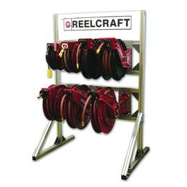Reelcraft® Reel Display Stand, #8, 64 lb, 34 in Length, 42-1/2 in Width, 64-1/2 in Height, Aluminum