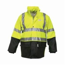 RIVER CITY 5182SXL LUMINATOR™ 5182S 2-PIECE RAINSUIT, XL, BLACK/FLUORESCENT LIME/SILVER, KNITTED COTTON POLYESTER BLEND/POLYURETHANE, 50 IN WAIST, 32-1/2 IN L INSEAM, ATTACHED HOOD