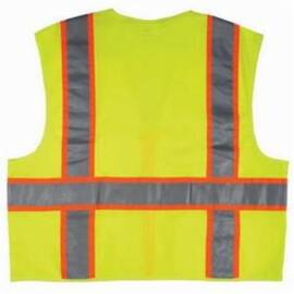 River City SURV Safety Vest, Luminator™, Polyester, Orange/Silver Reflective Striped, ANSI Class: 2, Zipper Closure, Hi-Viz Fluorescent Lime
