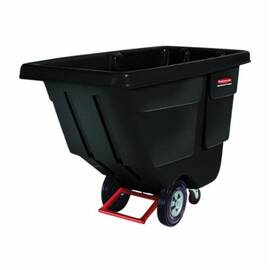 Rubbermaid® Fg130400Bla Durable Rotomolded Standard Duty Tilt Truck, 56.8 In OAL, 300 Lb Load, 1/2 Cu-Yd Volume, Hdpe, Black