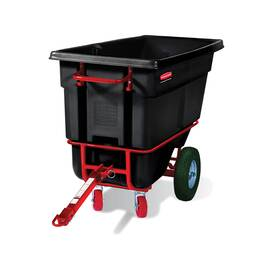 Rubbermaid® Tilt Truck, Heavy Duty Towable Trainable, Series: 1306-41, 1400 lb, 1/2 cu-yd, 60-1/2 in Overall Length, 28 in Overall Width, 38.6 in Overall Height, Plastic, Black, (2) Swivel Caster