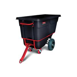 Rubbermaid® Tilt Truck, Heavy Duty Towable Trainable, Series: 1316-41, 2100 lb, 1 cu-yd, 72.2 in Overall Length, 33-1/2 in Overall Width, 43.8 in Overall Height, HDPE, Black, (2) Swivel Caster