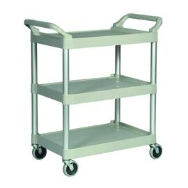 Rubbermaid® Utility Cart, Series: 3424-88, 33.6 in Overall Length, 18.6 in Overall Width, 37.8 in Overall Height, 200 lb, Polypropylene, Platinum, 3 Shelves, 67 lb Per Shelf, 28-3/4 in Distance Between Shelves, 28-7/8 in L x 17-5/8 in W Shelf, (4) Swivel