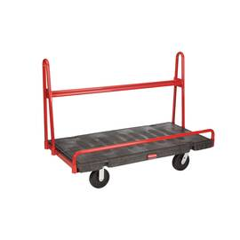 Rubbermaid® Panel Truck, A Frame, Series: 4464, 59.9 in Overall Length, 30.2 in Overall Width, 44.9 in Overall Height, 2000 lb, Plastic Deck/Steel Frame, Black, (2) Fixed/(2) Swivel Caster