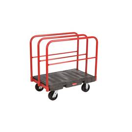 Rubbermaid® Sheet and Panel Truck, Series: 4468, 47.9 in Overall Length, 24.2 in Overall Width, 39.9 in Overall Height, 2000 lb, Plastic Deck/Steel Frame, Black, (2) Fixed/(2) Swivel Caster