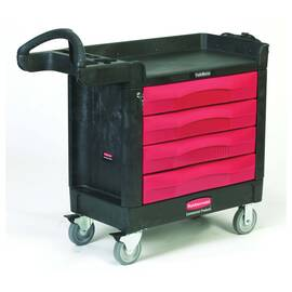 Rubbermaid® Mobile Cart, Series: 4513-88 TradeMaster®, 40.6 in Overall Length, 18.4 in Overall Width, 33.4 in Overall Height, 500 lb, 4 Drawers, 4 in D Drawer, (2) Fixed/(2) Swivel with Brake Caster, Easy-to-Grip, Polypropylene, Black