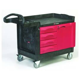Rubbermaid® Mobile Cart, Small, Series: 4533-88 TradeMaster®, 49 in Overall Length, 26.2 in Overall Width, 38 in Overall Height, 750 lb, 4 Drawers, (2) Fixed/(2) Swivel with Brake Caster, Easy-to-Grip, Polypropylene, Black