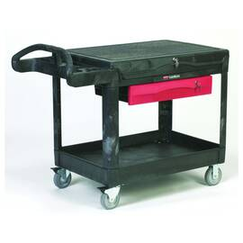 Rubbermaid® Contractors Cart, Series: 4535-88 TradeMaster®, 52-1/2 in Overall Length, 38.6 in Overall Width, 37.9 in Overall Height, 500 lb, 2 Shelves, 4 in D Drawer, (2) Fixed/(2) Swivel with Brake Caster, Easy-to-Grip, Polypropylene, Black
