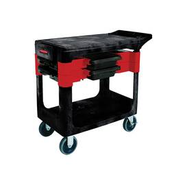 Rubbermaid® Trades Cart, Series: 6180, 38 in Overall Length, 19.2 in Overall Width, 33.4 in Overall Height, 180 lb Top Shelf/150 lb Bottom Shelf, Polypropylene, Black
