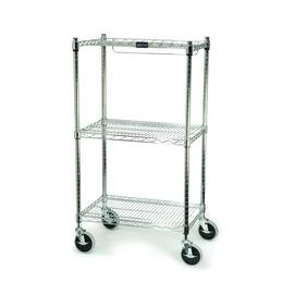 Rubbermaid® Bin Cart, Series: 9G59, Chrome Plated Cart, 200 lb, (4) Swivel Caster, 2 Shelves, Coated Metal, 18 in L x 26 in W x 47.8 in H