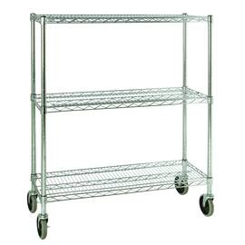 Rubbermaid® Mobile Rack, Series: 9G79 ProSave™, 38 in Width, 14 in D, 48.276 in Height, 600 lb, 3 Shelves, 200 lb Per Shelf, Metal, Chrome