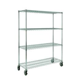 Rubbermaid® Mobile Rack, Series: 9G80 ProSave™, 50 in Width, 18 in D, 67.157 in Height, 800 lb, 4 Shelves, 200 lb Per Shelf, Metal, Chrome