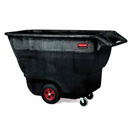 Rubbermaid® Tilt Truck, Structural Foam Standard Duty, Series: 9T15, 2100 lb, 1 cu-yd, 70.8 in Overall Length, 33-1/2 in Overall Width, 42.2 in Overall Height, Plastic, Black, (2) Swivel Caster
